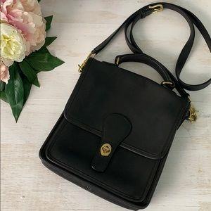 Vintage Coach Black Leather Station crossbody bag